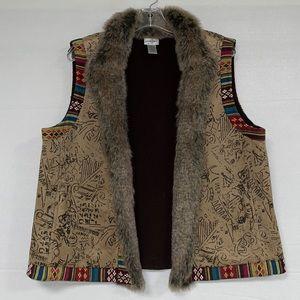 Chico's Women's Fur Collar Aztec Print Vest 3